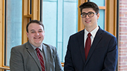 Anthony Ciarlante and Gawen Grunloh, second-year law students at Dickinson Law, claimed the championship round of the Second Annual O'Savio Moot Court Competition